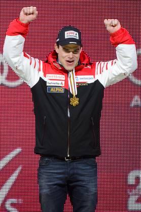 Patrick Küng bei der Siegerehrung.
