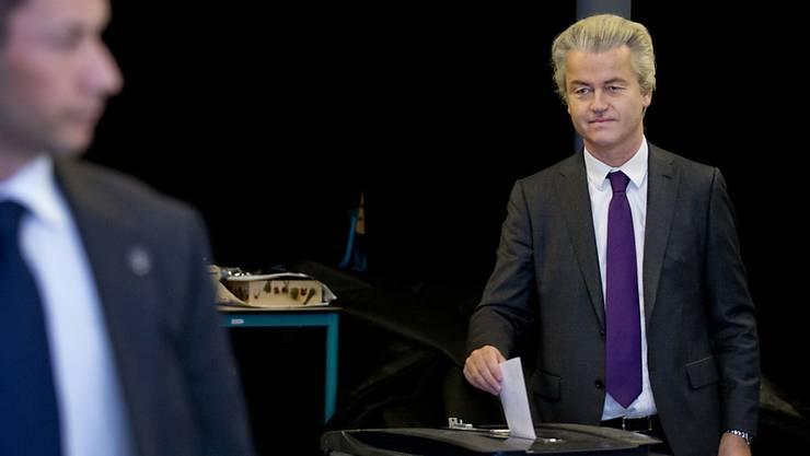 Er darf sich zu den Siegern der Abstimmung in den Niederlanden zählen: EU-Gegner Geert Wilders.