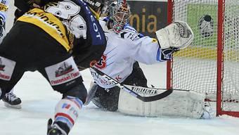 Pascal Berger überlistet Fribourgs Goalie Christobal Huet.