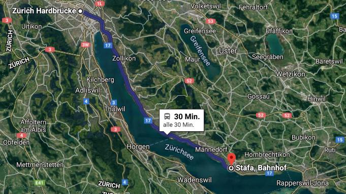 Route der S7 von Zürich Hardbrücke bis Stäfa. Die S20 hält im Unterschied zur S7 auch in Küsnacht, überspringt jedoch den Halt in Uetikon am See.