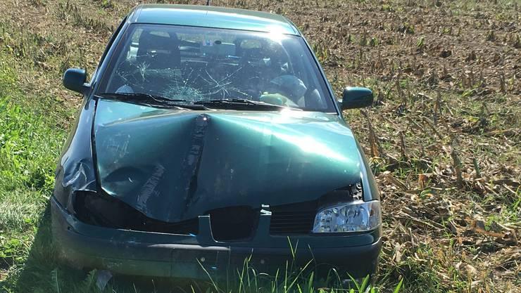 Das Auto des 22-jährigen Autofahrers blieb nach dem Unfall in der Wiese stehen.