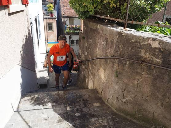 Highlight des Rennen: Das Erklimmen der Treppen bis zu den Ruinen.