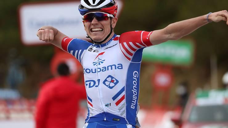 Der Franzose David Gaudu freut sich ausgelassen über seinen Etappensieg an der Vuelta