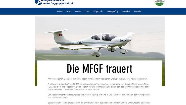 Die Motorfluggruppe Fricktal und die Flugschule Basel haben auf ihrer Website eine Traueranzeige aufgeschaltet.