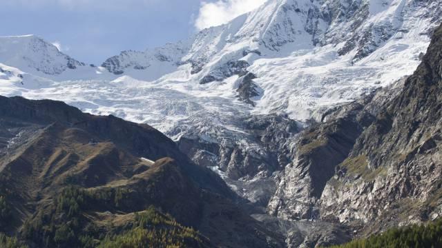 Der Fee-Gletscher oberhalb von Saas Fee im Wallis
