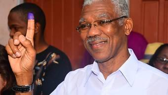 Präsidentschaftskandidat David Granger nach der Wahl (Archiv)