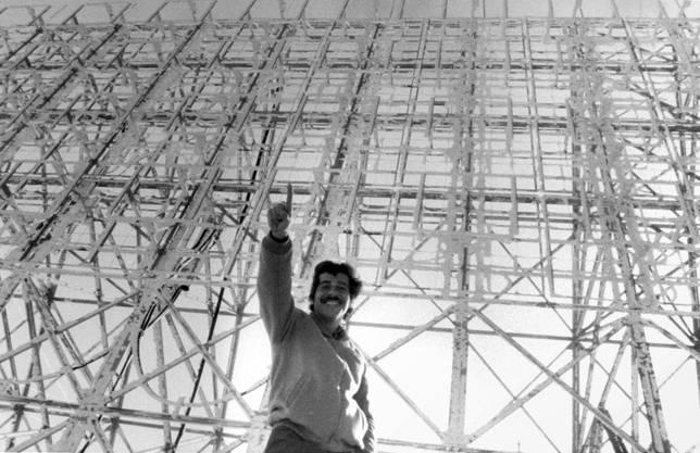 Roger Schawinski auf dem Pizzo Groppera, 1980