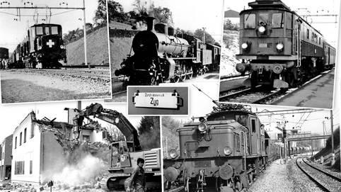 Im Uhrzeigersinn durchs Jahrhundert: Elektrozug und Dampflok von 1932, Lok Be 4/6 1976, Kieszug 1974, Abriss Bahnhof Birmensdorf 1992. hVB/Häni