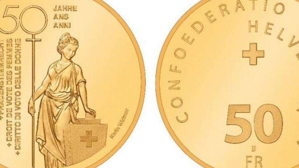 Goldene Gedenkmünze zur Einführung des Frauenstimmrechts