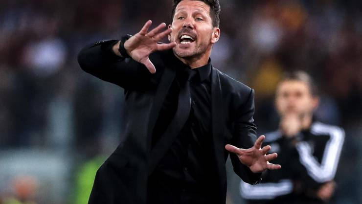 Wie immer mit Enthusiasmus dabei: Atlético-Coach Diego Simeone treibt seine Mannschaft an