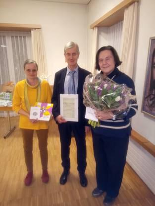von links nach rechts: Rebekka Wagner (Neumitglied), Heinz Kappeler (Ehrenmitglied), Heidi Schmid (30 Jahre Aktivmitgliedschaft)