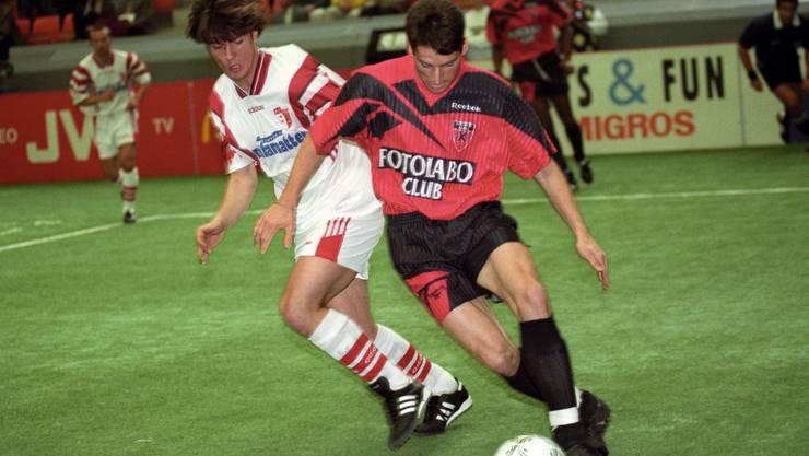 1997: Wicky (l) als blutjunger NLA-Spieler für Sion.