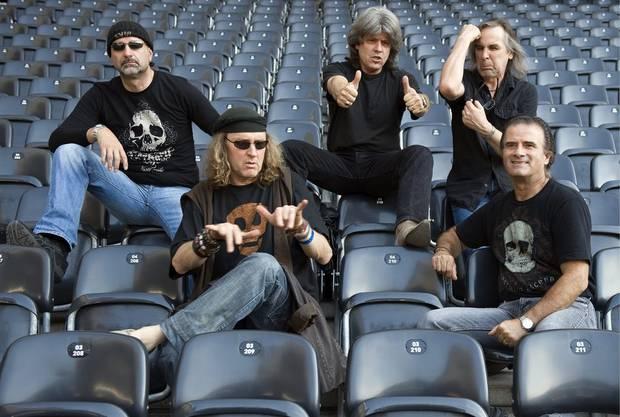 Die «Krokus» Original Mitglieder: Mark Kohler, Chris von Rohr, Freddy Steady, Fernando von Arb und Marc Storace (von links) im Jahr 2008.