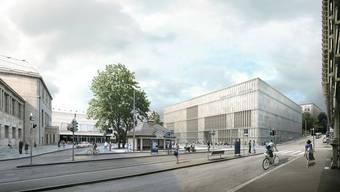 Links das alte Kunsthaus Zürich, rechts der geplante Erweiterungsbau. (Archiv)