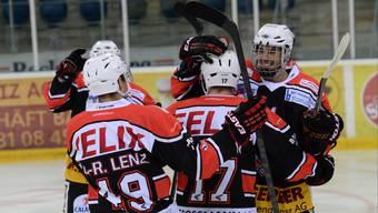Der EHC Basel/KLH bejubelt einen wohl bedeutungslosen Sieg.