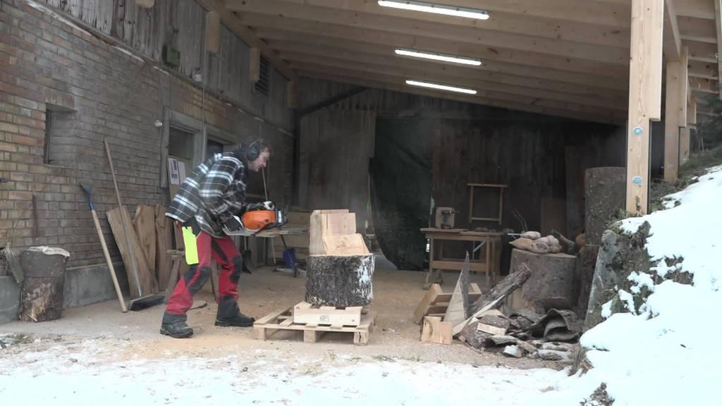 Geschickter Motorsäger: Pius Granwehr schnitzt Skulpturen