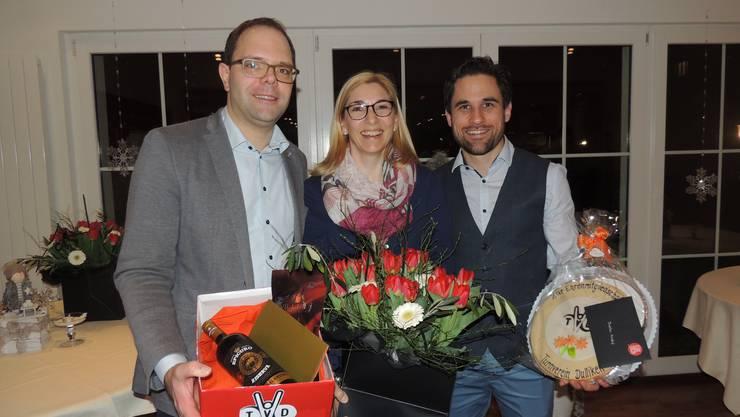 v.l. Christian Hug, Ehrenmitglied, Larissa Zimmermann, Freimitglied und André Bachmann, Ehrenmitglied