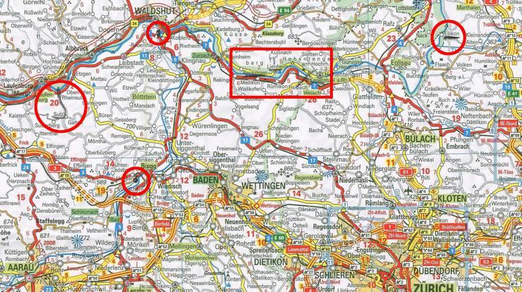 Auf dem Beifahrersitz von Dittmanns Mercedes fand die Polizei diese Karte mit Bleistift-Markierungen von Orten und Strassen.