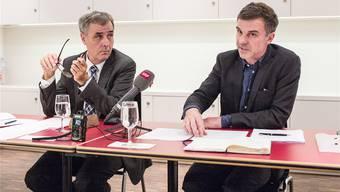 Der Eklat: Regierungspräsident Guy Morin und Kulturchef Philippe Bischof geben am 9. September 2015 die Trennung vom Marie-Paule Jungblut bekannt.