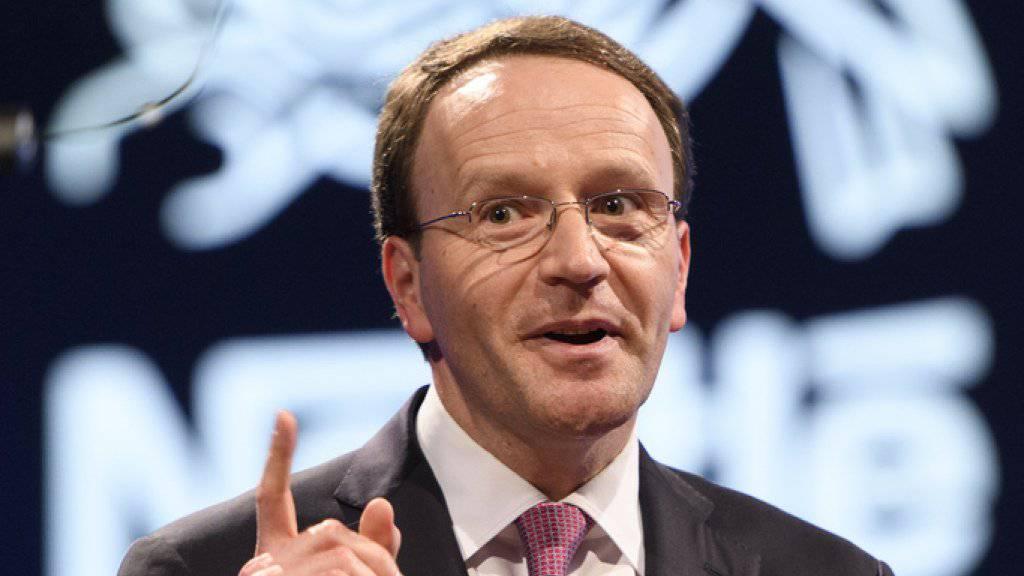 Spekulation um Nestlés Strategie bezüglich  L'Oréal. Im Bild Nestlé-Chef Mark Schneider. (Archiv)
