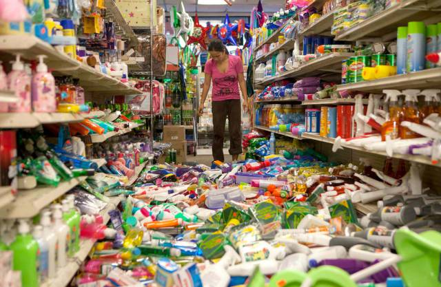 Resultat des Erdbebens nahe San Francisco: Chaos im Supermarkt