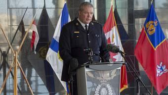 Chris Leather, Kriminalbeamter der Royal Canadian Mounted Police, informiert über die Details des Amoklaufs, dem mehr als 13 Personen zum Opfer fielen.