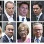 Boris Johnson (1. Reihe, links aussen) wurde als Favorit bestätigt, die beiden Frauen Esther McVey (2. Reihe, links aussen) und Andrea Leadsom (2. Reihe, dritte von links), sowie Mark Harper (1. Reihe, rechts aussen) sind raus.
