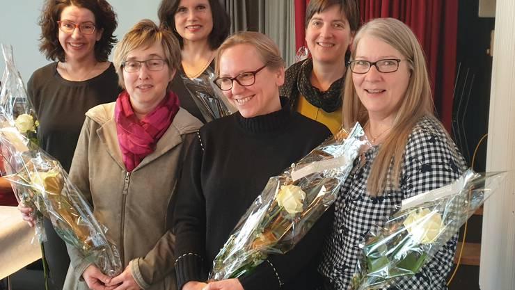 v.l.: Flavia Schürmann, Gaby Kuhn, Irène Dietschi-Klaffke, Gabriela Gramlich, Sandra Rupp Fischer, Susanne Bucher