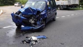 Unfall Buchs: Lastwagen Auto Kollision