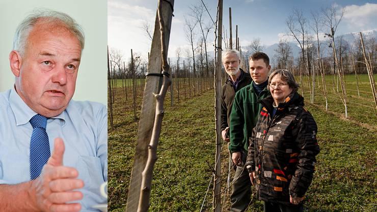 Christian Wanner steht bereit. Der Grund für den drohenden Rechtsstreit: Die Obstplantage der Familie Antener.