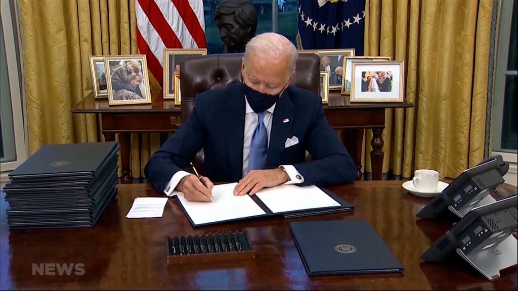 Zurück ins Klimaabkommen und Stopp vom Mauerbau: Joe Biden legt tatkräftig los