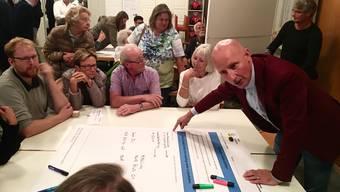 CVP-Stadtrat Stefano Kunz (rechts) sammelte Ideen der Teilnehmer.