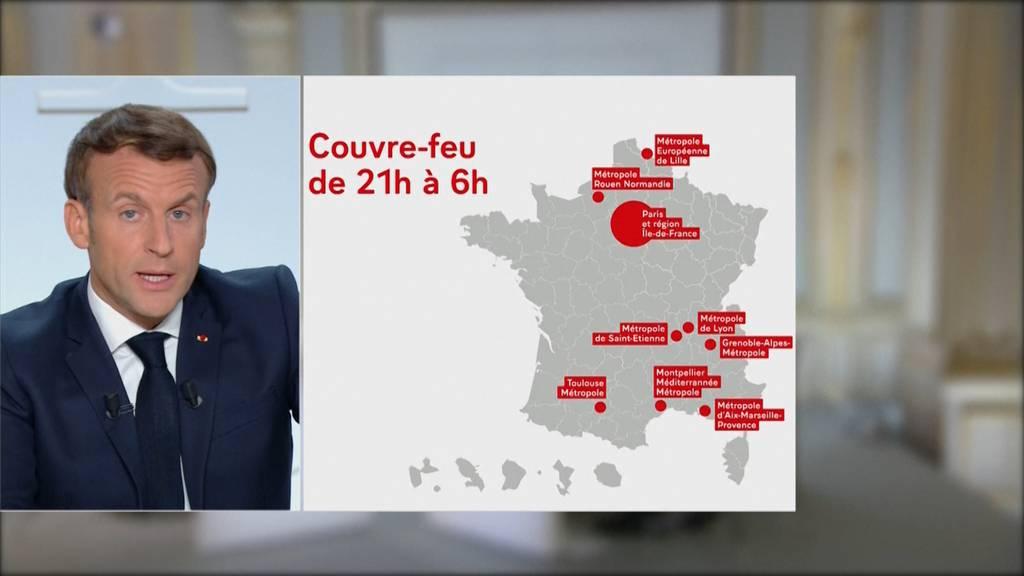 Sperrstunde in Deutschland, Ausgangssperre in Frankreich