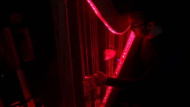 F-Dur: Louis Hofer spielt auf seiner Harfe.