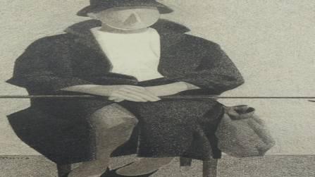 «La visite» 1960–1964; Bleistift auf Papier (mit Strumpfkugel)