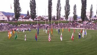 An der Bundesfeier wird im Amphitheater traditionsgemäss auch eine Europa-Fahne gehisst.