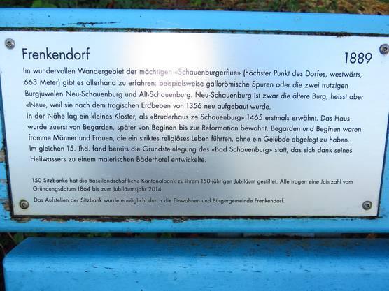 Frenkendorf beschrieben, dies dank der Bank zum Ausruhen von der Basell.Kantonalbank.