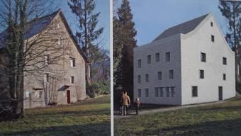 Das sanierungsfällige Schlössli heute (links) und nach der geplanten, umfassenden Erneuerung (rechts). . VISUALISIERUNG JOE ROHRER, LUZERN