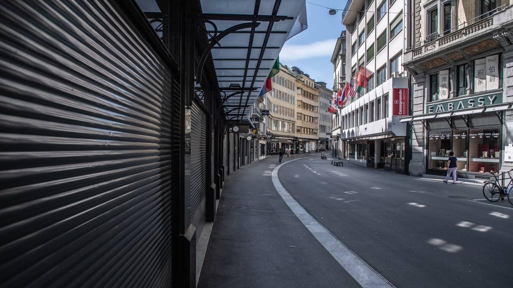 Geschlossene Läden in der Stadt Luzern während des Lockdowns im April.