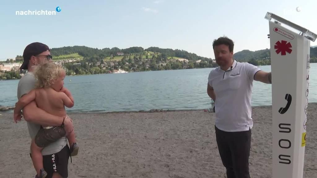 Reaktion Badegäste auf neue Notrufsäulen in Luzern
