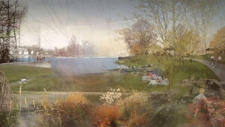 Das Aareufer östlich der Kettenbrücke soll in der Region der Schwanbar mit der Umgestaltung eine Bucht erhalten. Visualisierung/zvg