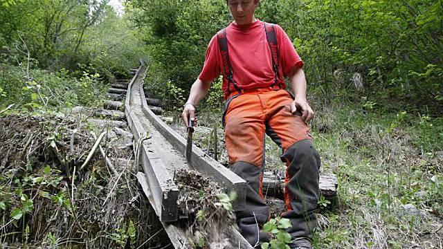 Arbeiter im Puschlaver Wald