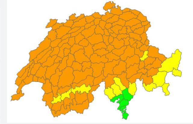Windiger Dienstag: Die orangen Flächen zeigen Regionen mit stürmischen Böen.