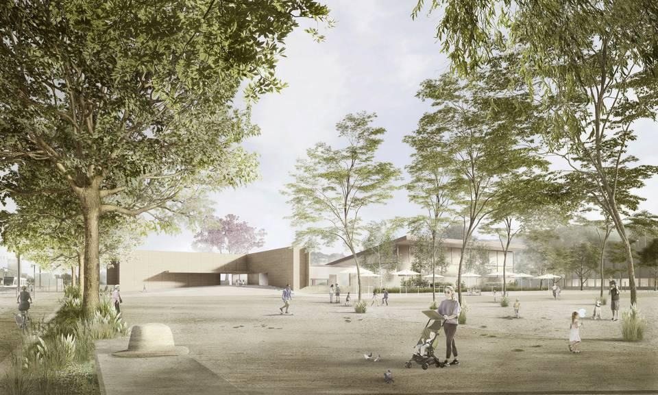 Das neue Hallenbad soll sich gut in die bestehenden Sportanlagen eingliedern. (Bild: zVg)