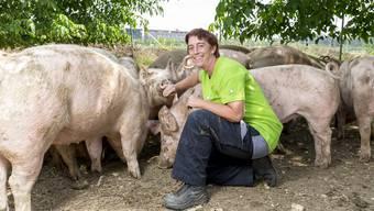 Sie ist angekommen: Sabine Rinderknecht wird umringt von einer Herde Galtschweine auf dem Gelände des Neuhofs in Birr.