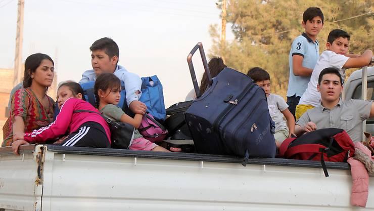 Kurdische Familien fliehen wegen der türkischen Militäroffensive aus ihrer Heimatstadt Ras al-ain in Nordsyrien.