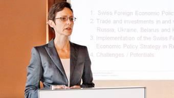 Monika Rühl bei einem Vortrag (Archivbild).