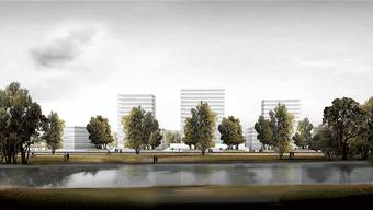 Den Dornachern soll sich beim Blick Richtung Reinach und Aesch schon bald dieses Bild eröffnen: drei Türme und viel Freifläche.