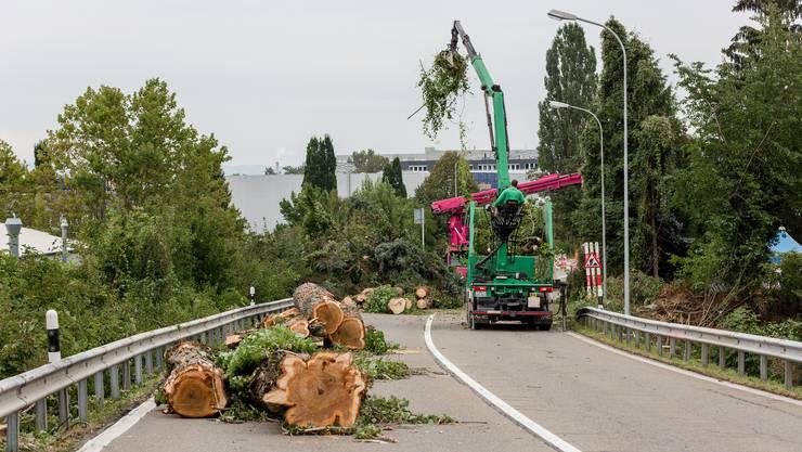 Der Streckenabschnitt an der Zürcherstrasse zwischen Shell-Tankstelle, gleich bei der Killwangener Gemeindegrenze zu Spreitenbach, und dem Knoten Fadacker, ist gesperrt – bis Mai 2020. Hier wird dereinst die Limmattalbahn fahren.