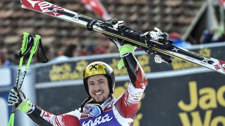Marcel Hirscher triumphiert auch am Chuenisbärgli.